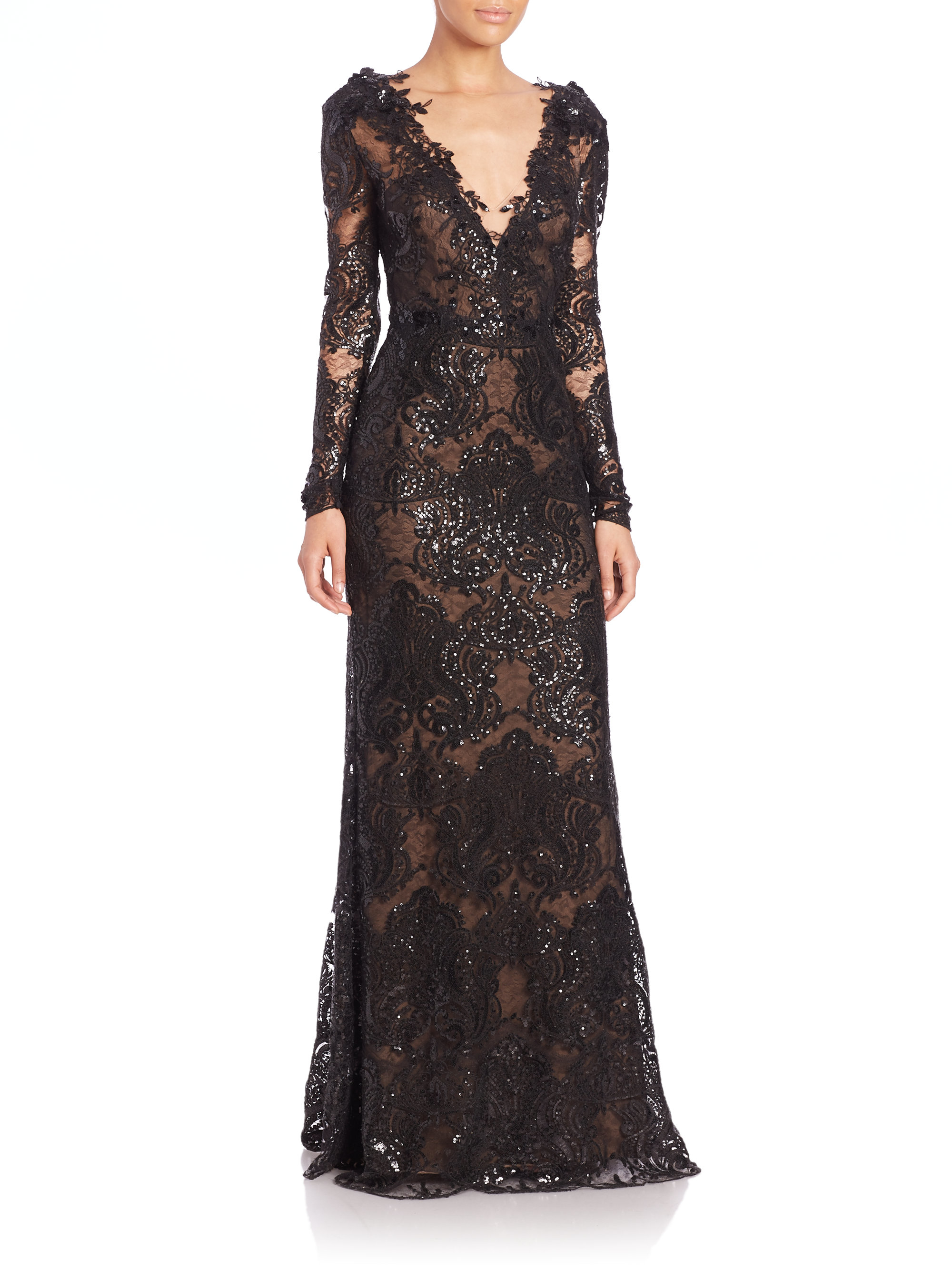 Notte by marchesa Sequined Lace Gown in Black