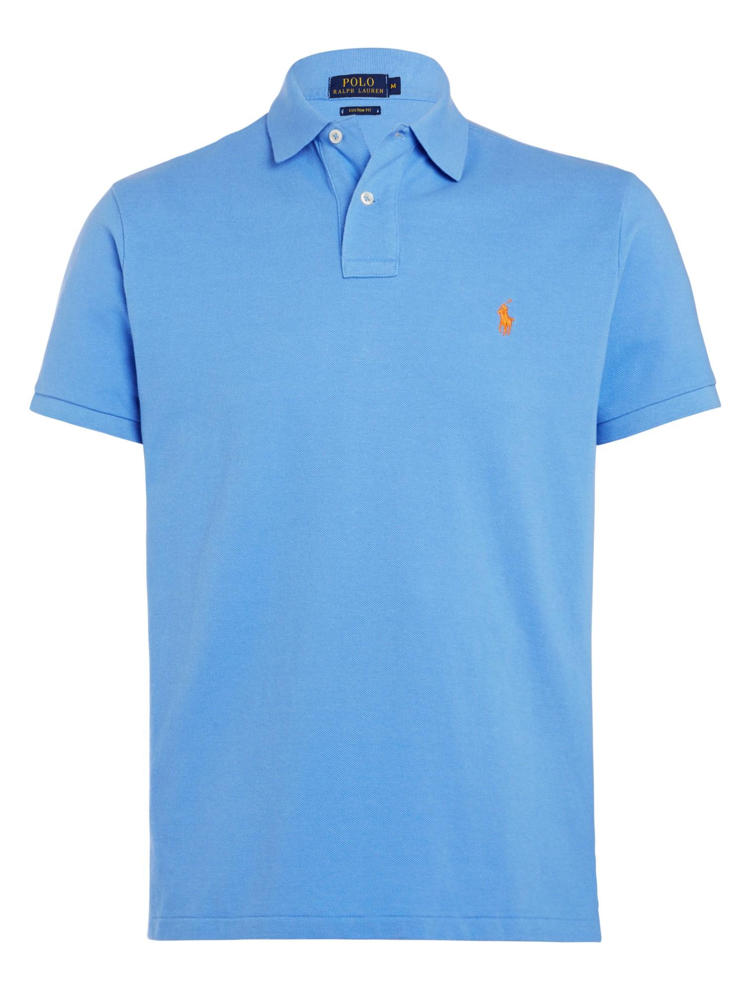 Lyst polo ralph lauren custom fit polo shirt in blue for men for Custom design polo shirts