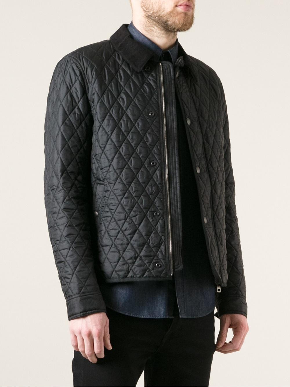 burberry brit quilted jacket in black for men lyst. Black Bedroom Furniture Sets. Home Design Ideas