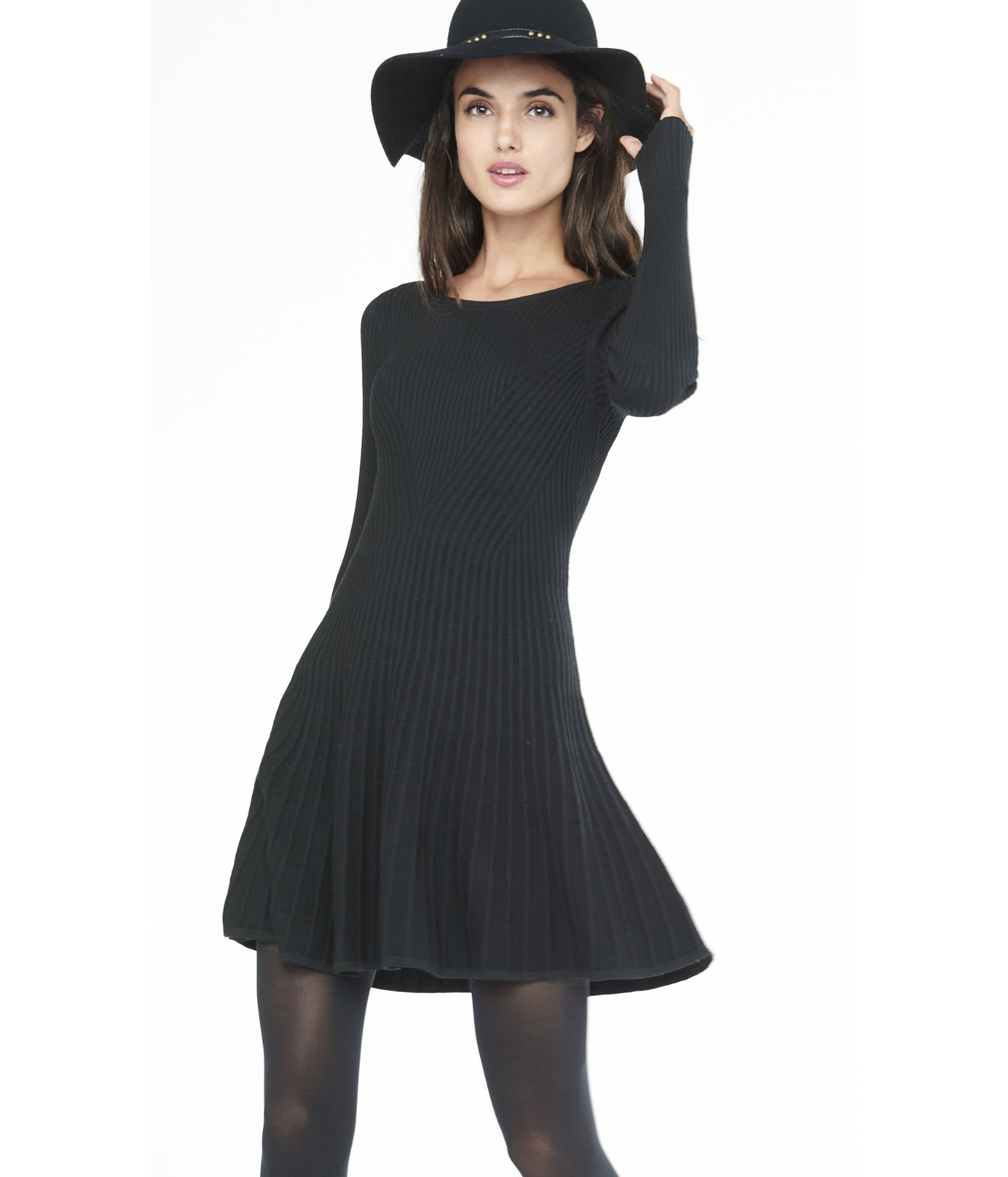 c291bf258195 Express Black Ribbed Fit And Flare Sweater Dress in Black - Lyst