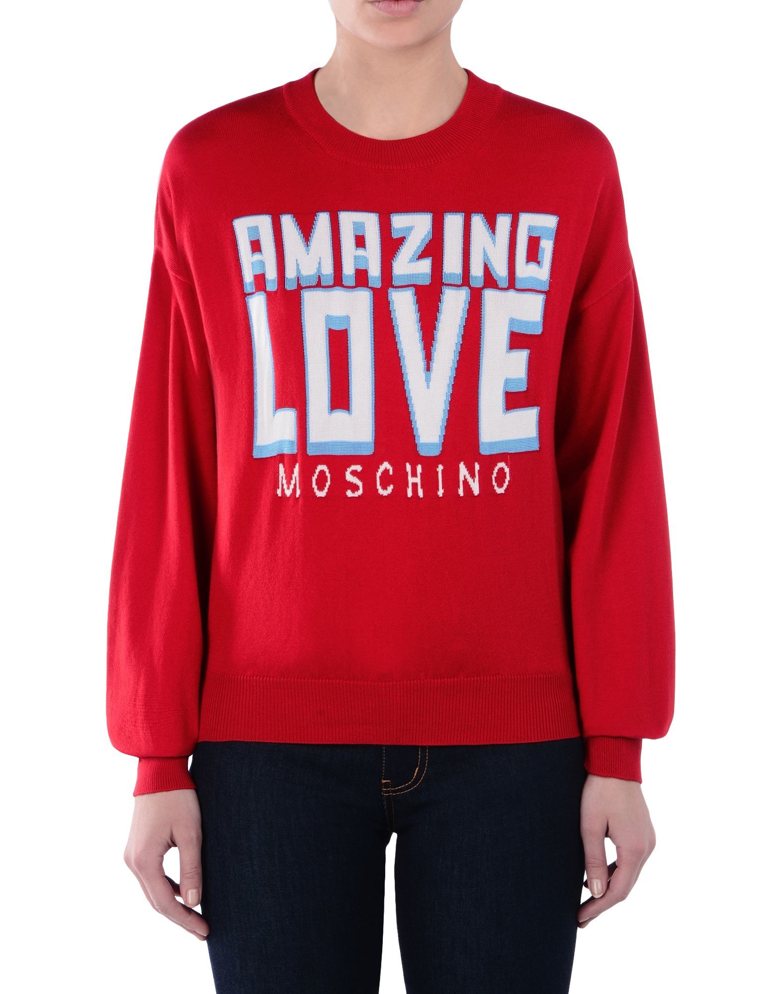 love moschino long sleeve sweater in red lyst. Black Bedroom Furniture Sets. Home Design Ideas