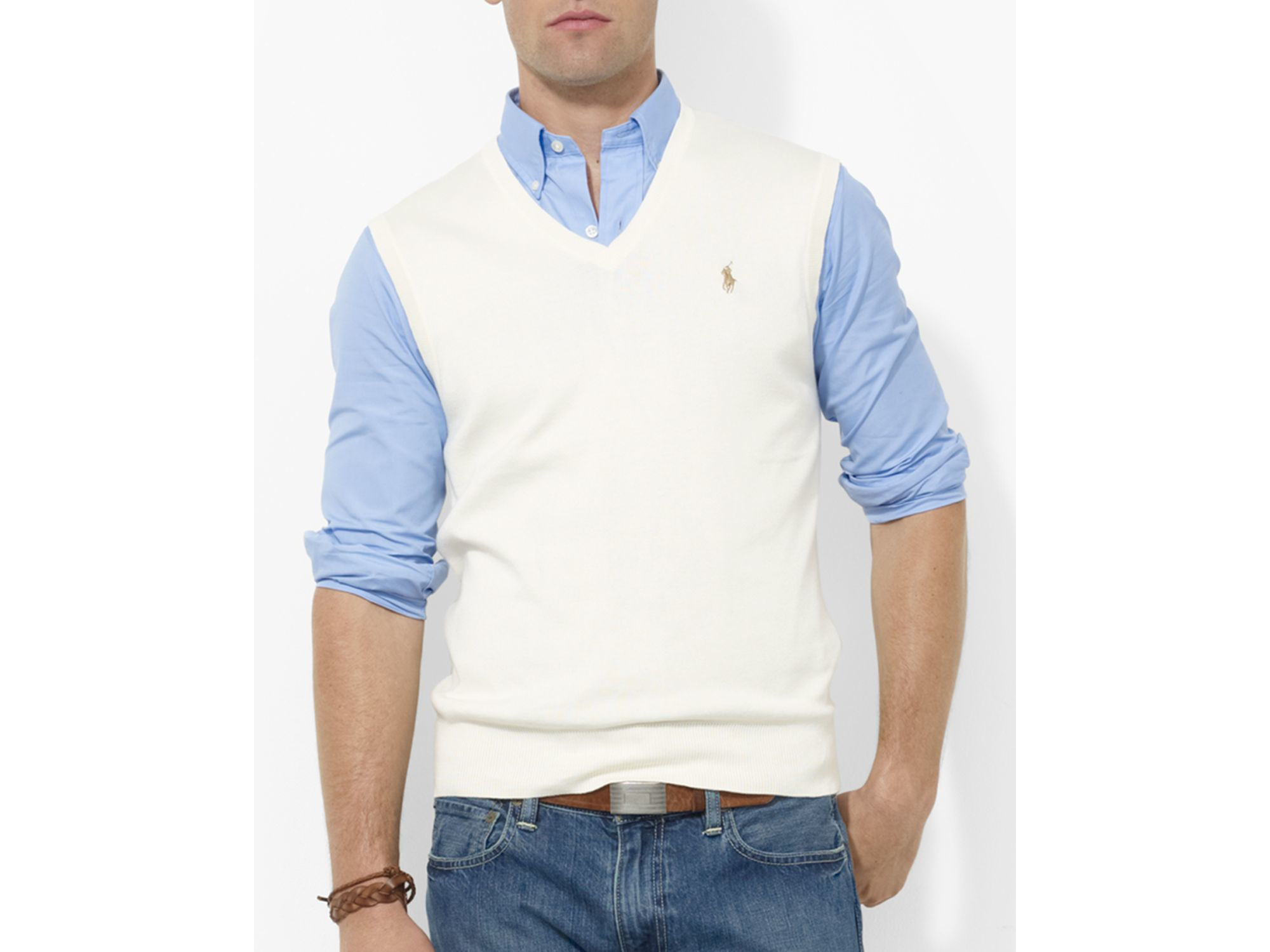 Pink pony Polo Pima Cotton Sweater Vest in Natural for Men | Lyst