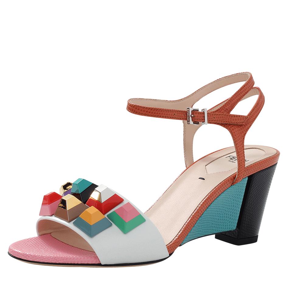 Fendi Rainbow Studded Sandals In Orange Lyst