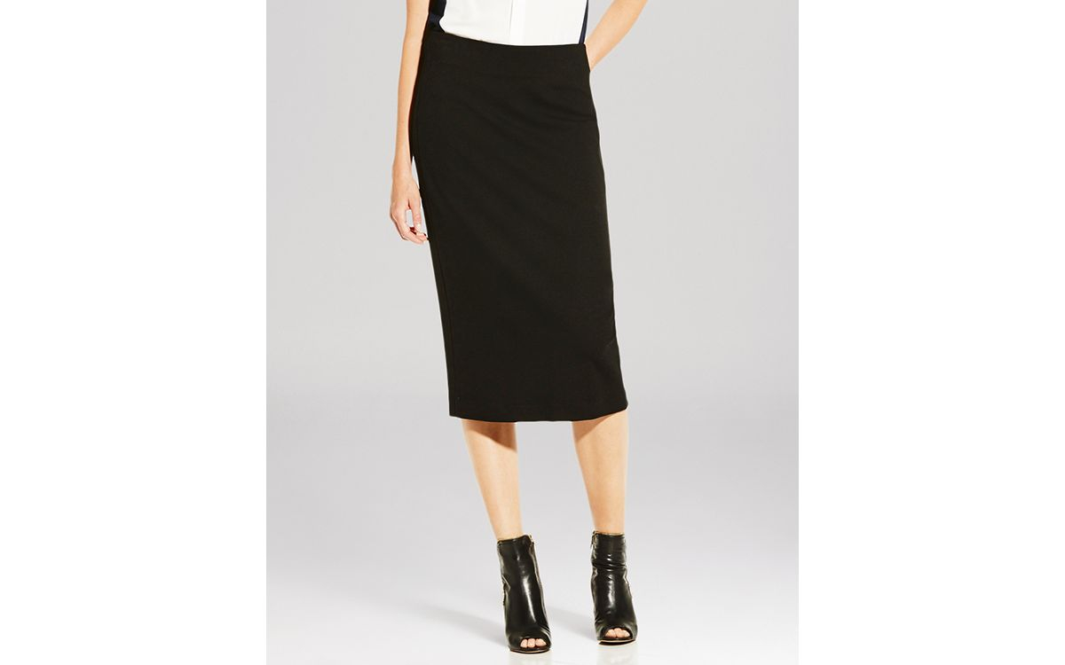 vince camuto midi pencil skirt in black rich black lyst