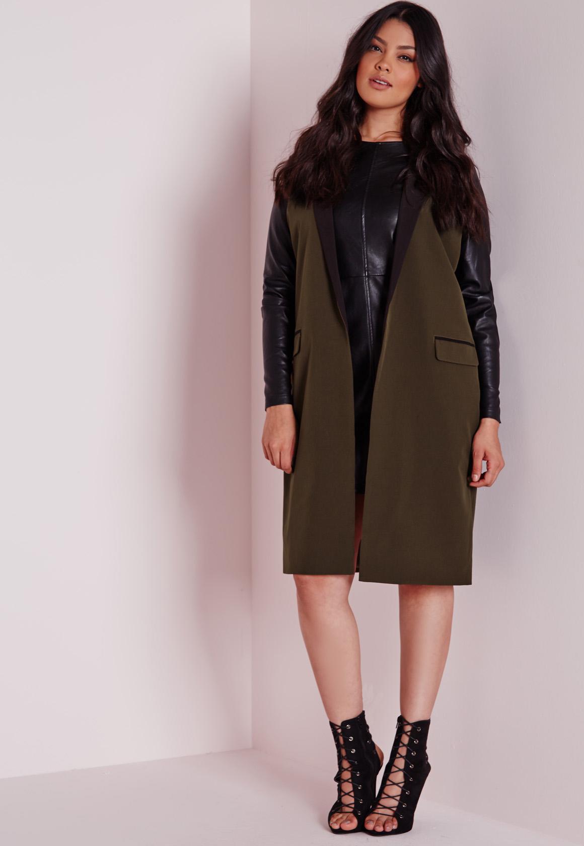 504adda72 Missguided Plus Size Contrast Longline Blazer Khaki in Natural - Lyst