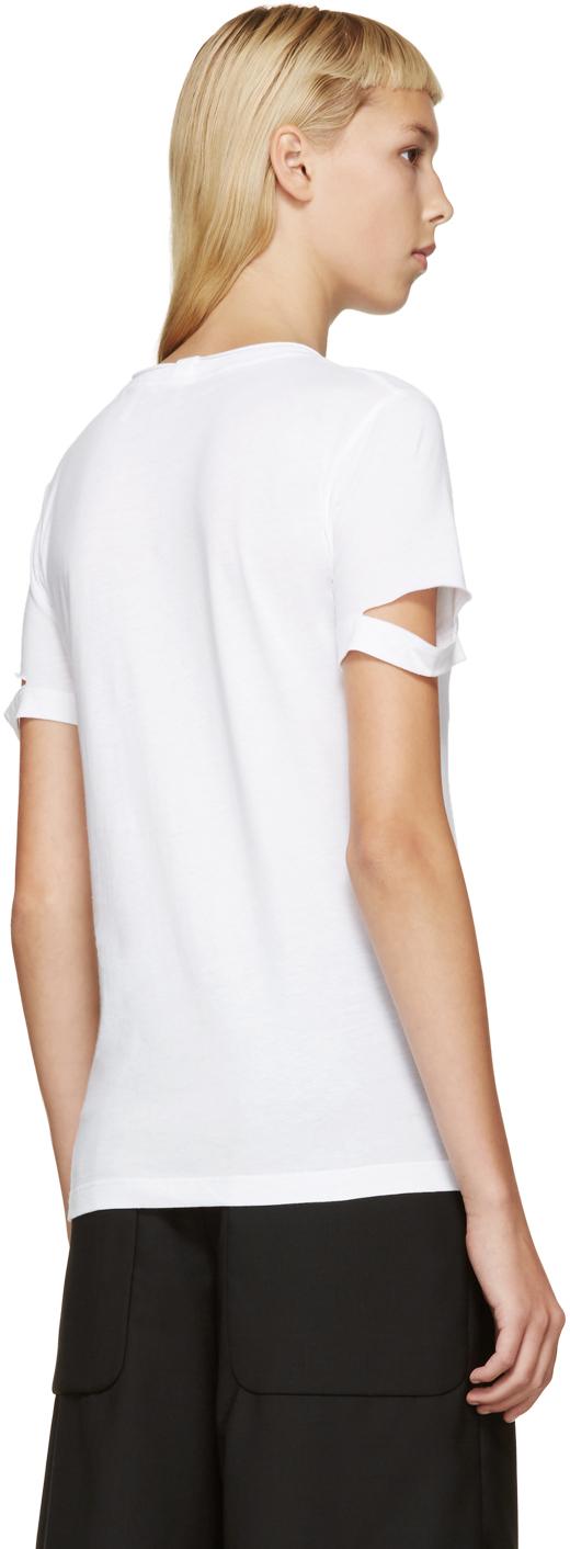 Helmut lang white slit sleeve t shirt in white lyst for Helmut lang tee shirts