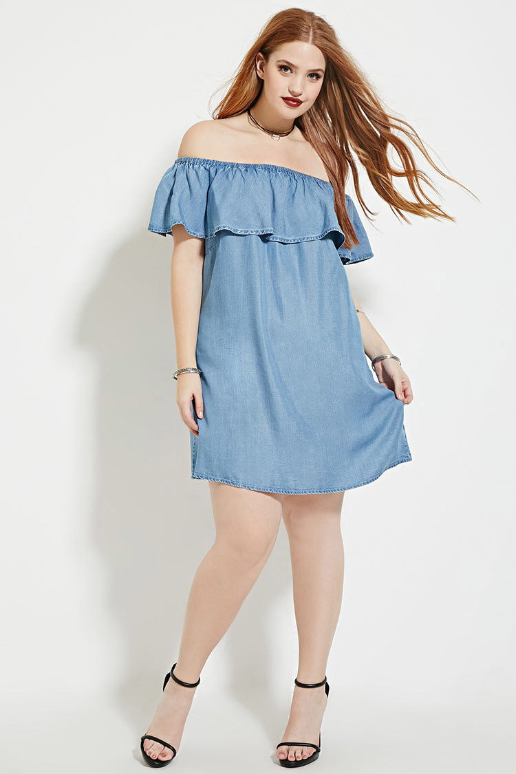 de81ae80f1d Lyst - Forever 21 Plus Size Chambray Dress in Blue