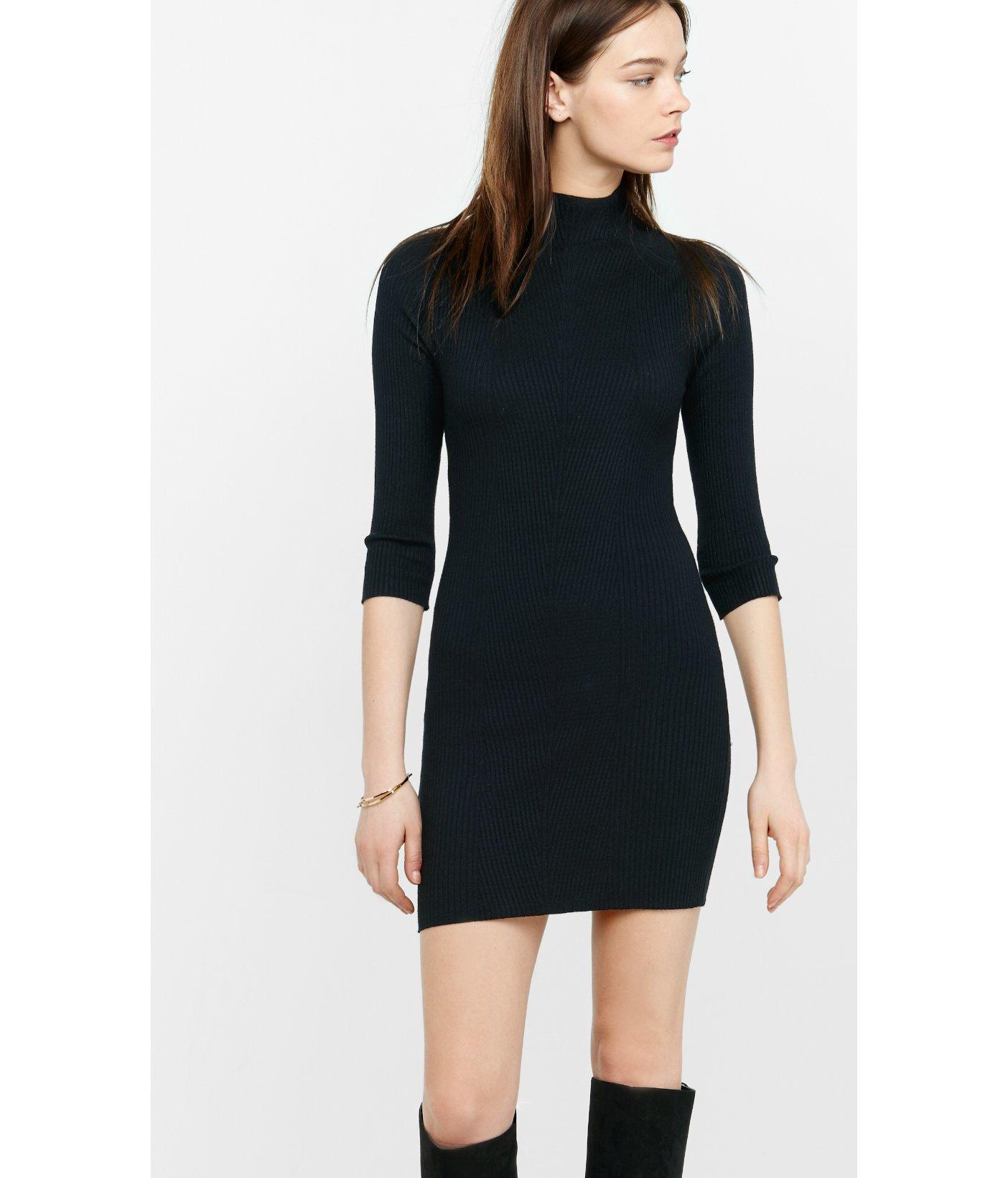 2b655df0e5 Lyst - Express Mock Neck Engineered Rib Sweater Dress in Black