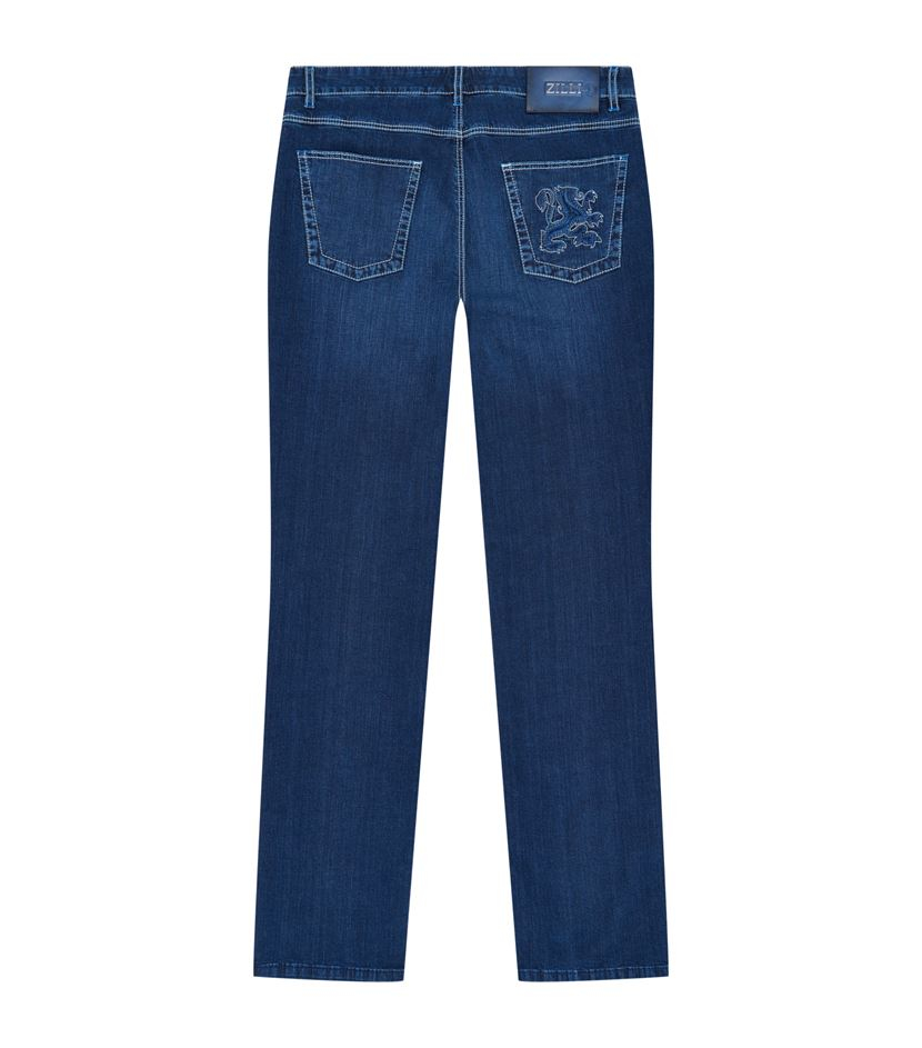Zilli embroidered pocket straight jeans in blue for men lyst