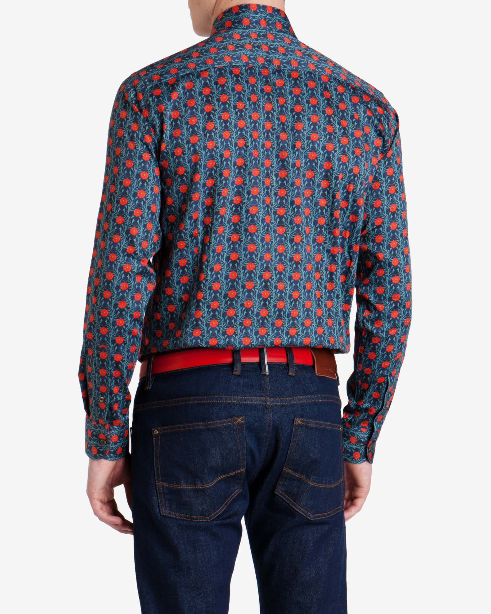 Ted baker printed floral shirt in blue for men navy lyst for Ted baker blue shirt