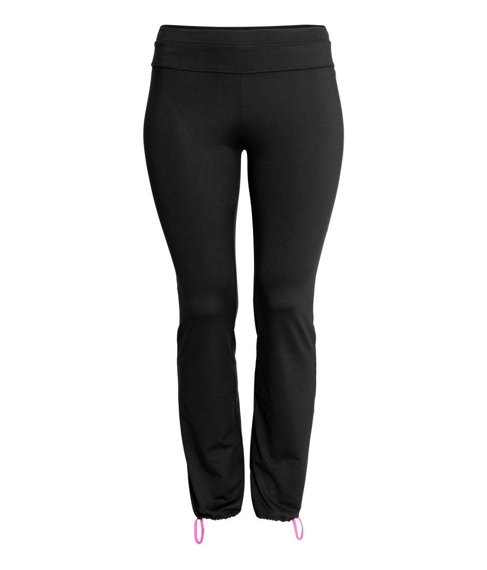 H&m + Yoga Trousers In Black