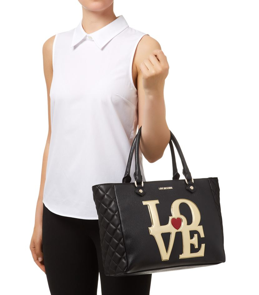 love moschino metallic logo shopper bag in black lyst. Black Bedroom Furniture Sets. Home Design Ideas