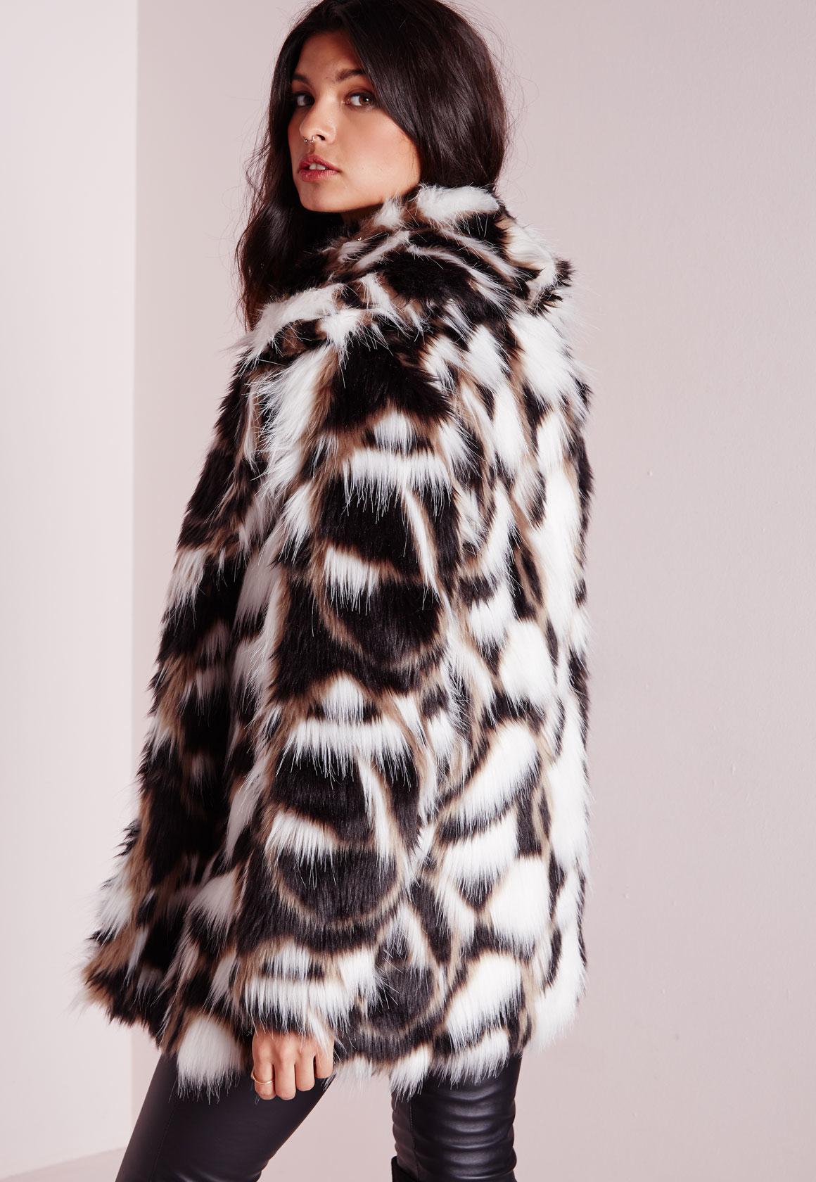 d0869c6fb543 Lyst - Missguided Patchwork Longline Faux Fur Coat Multi in Black