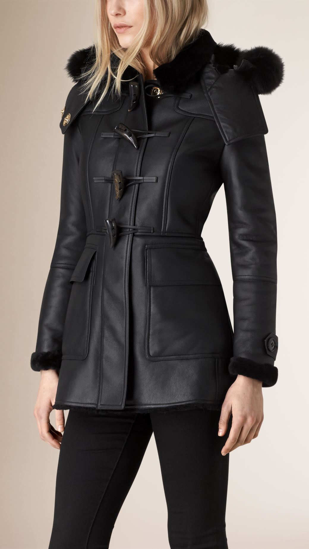Burberry Fox Fur Trim Shearling Duffle Coat Black in Black | Lyst