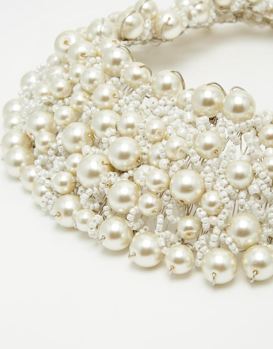 Lyst Aldo Wamblee Pearl Statement Necklace In White