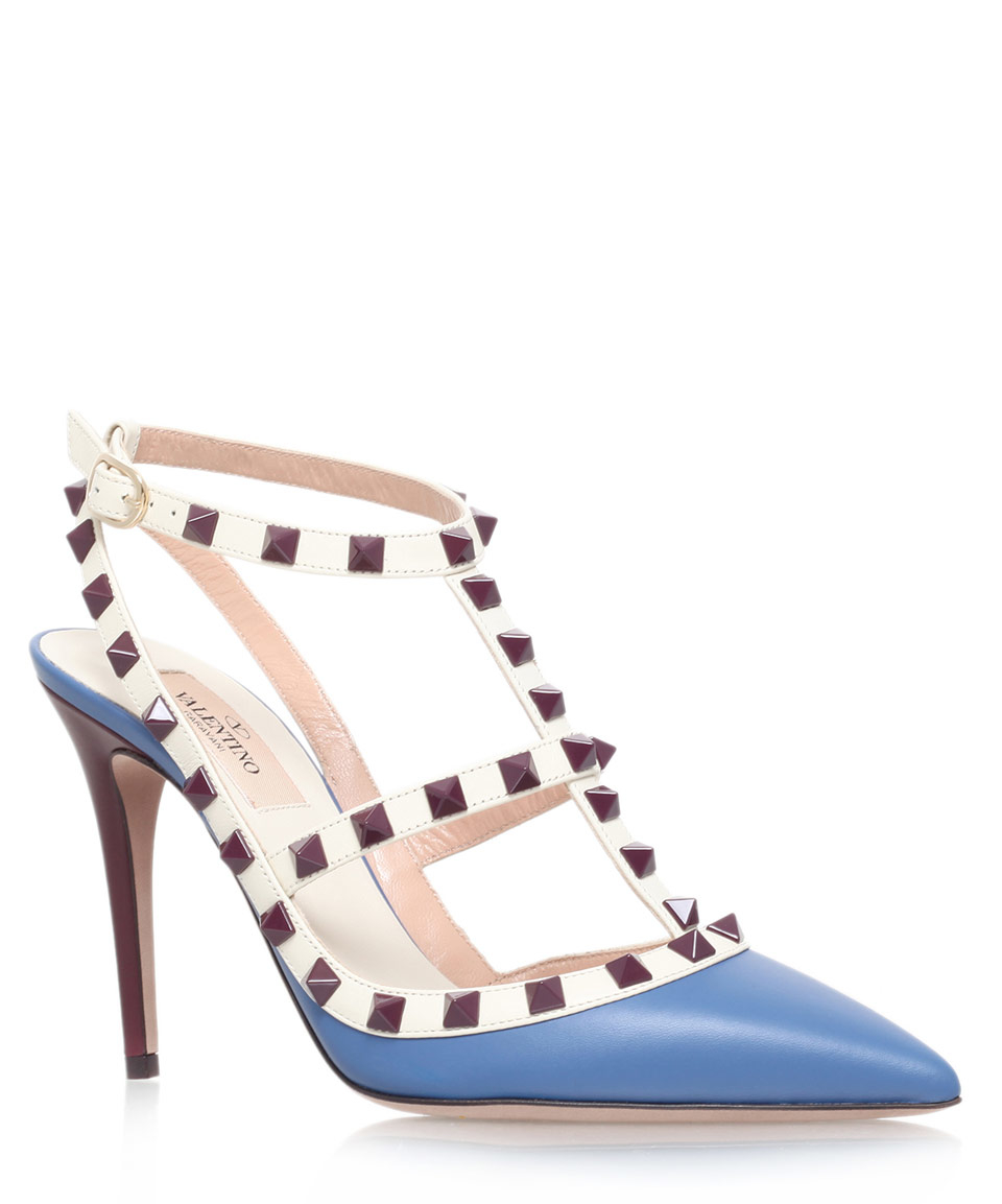 18380e8ee2854 Lyst - Valentino Baby Blue Leather Rockstud 100 T-bar Courts in Natural