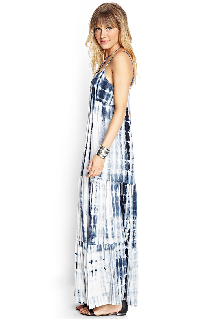 Forever 21 Tie-Dyed Maxi Dress in Blue - Lyst