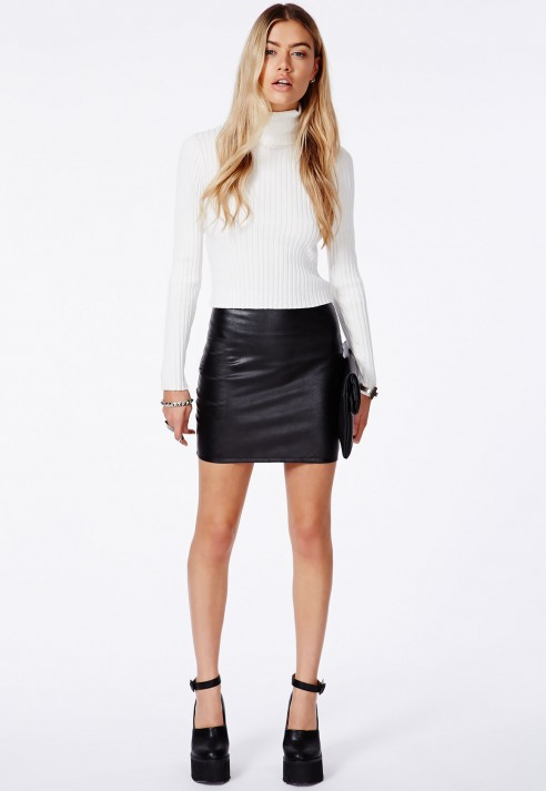 missguided rica 226 faux leather bodycon mini skirt in black