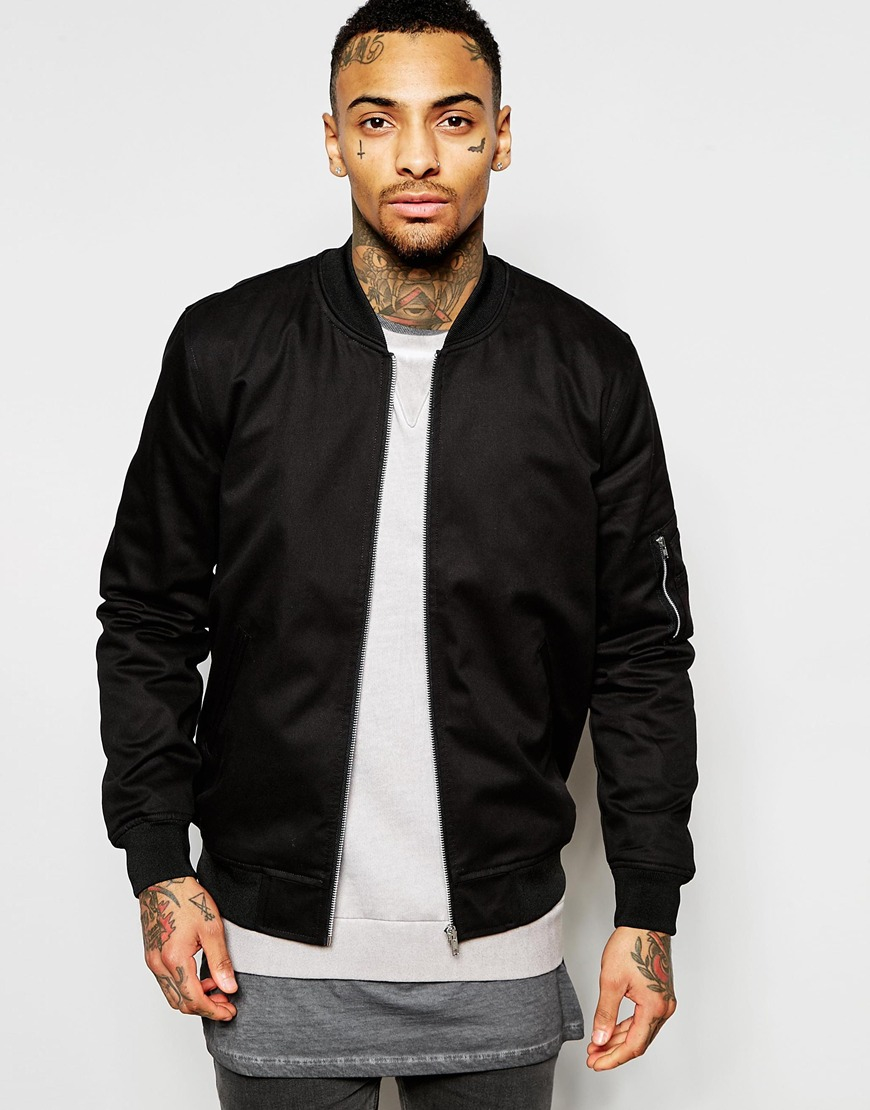 Asos Bomber Jacket In Black - Black in Black for Men | Lyst