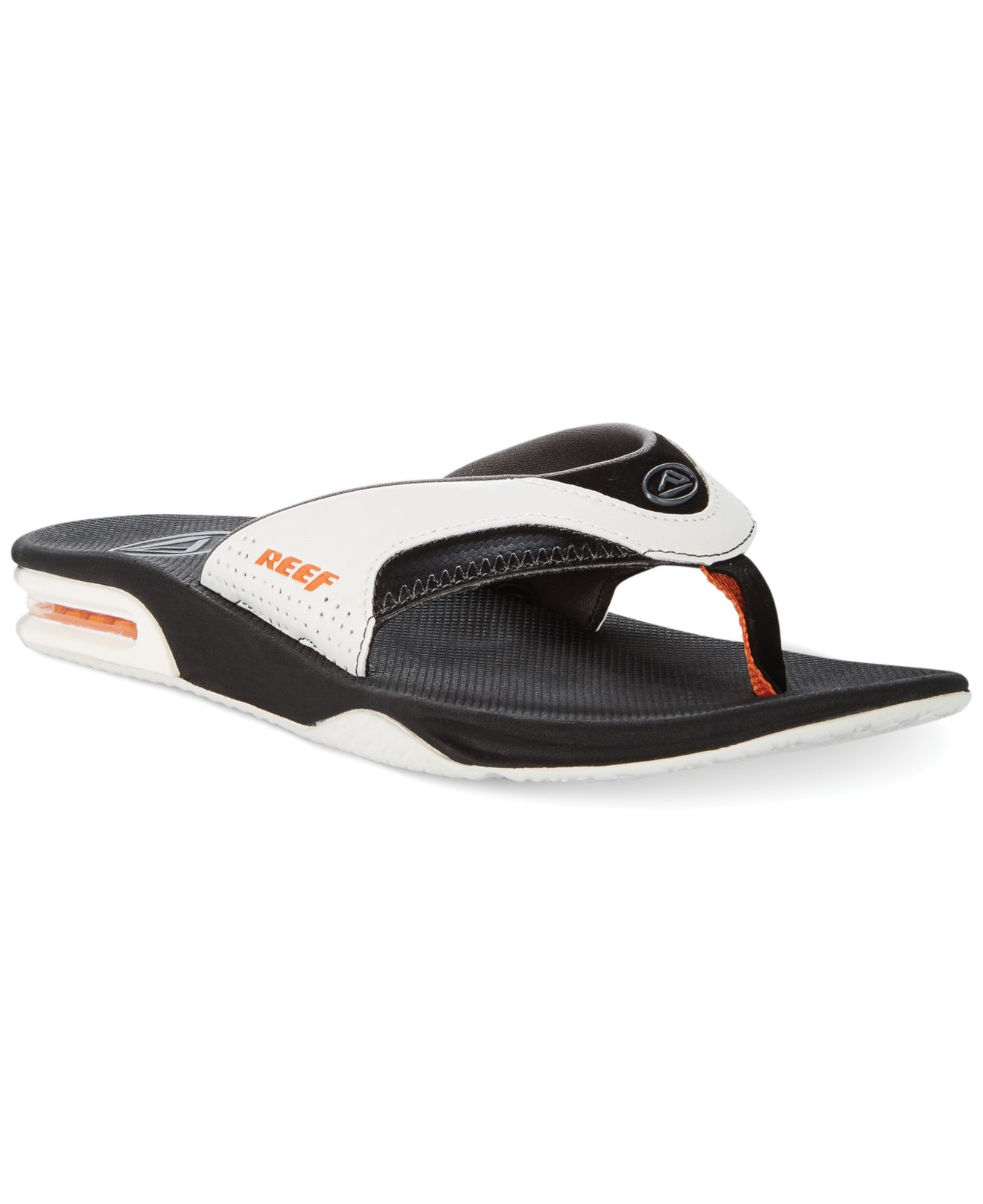 reef fanning thong sandals with bottle opener in white for men lyst. Black Bedroom Furniture Sets. Home Design Ideas