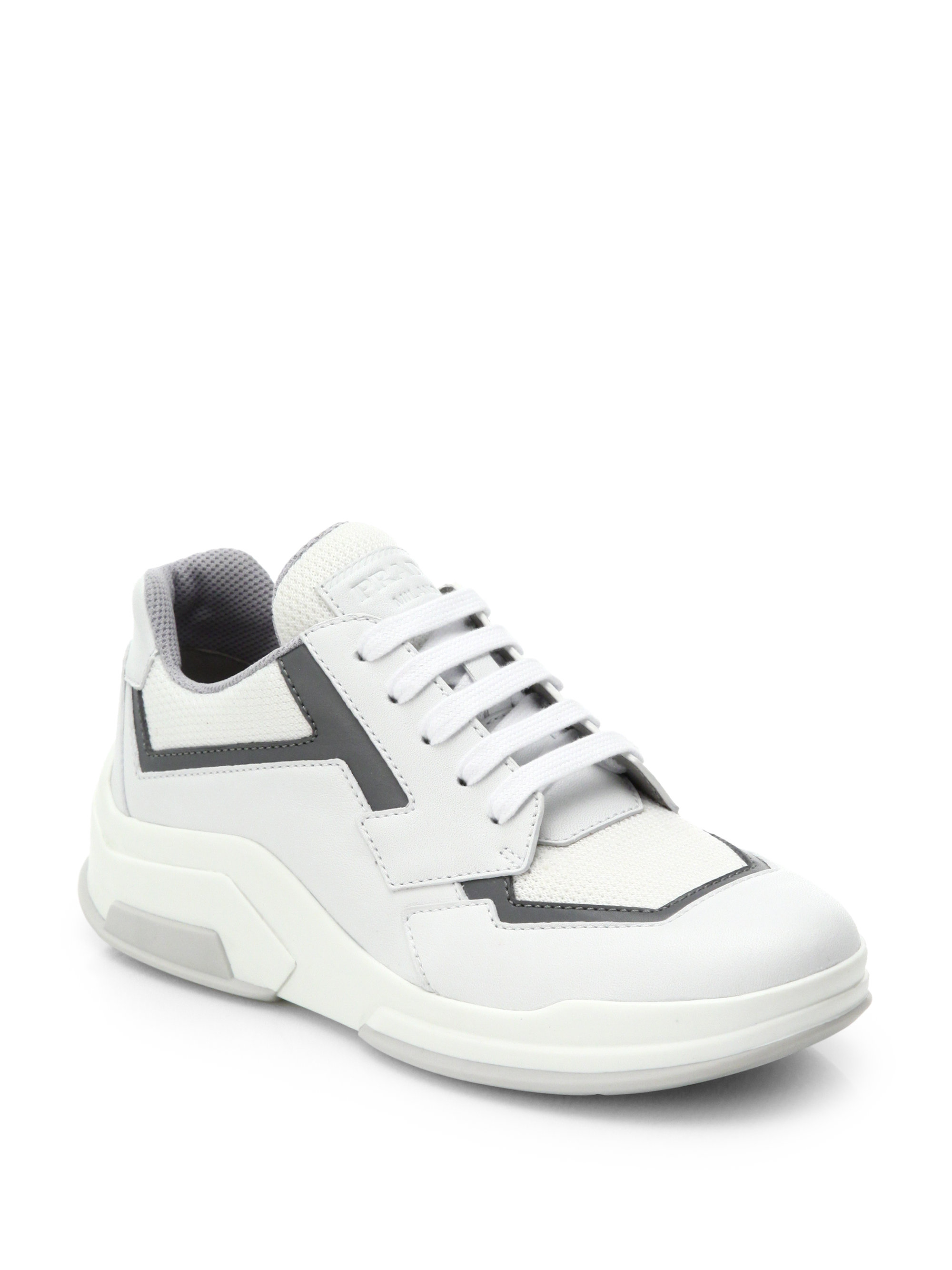 prada fabric and leather sneakers in white for lyst