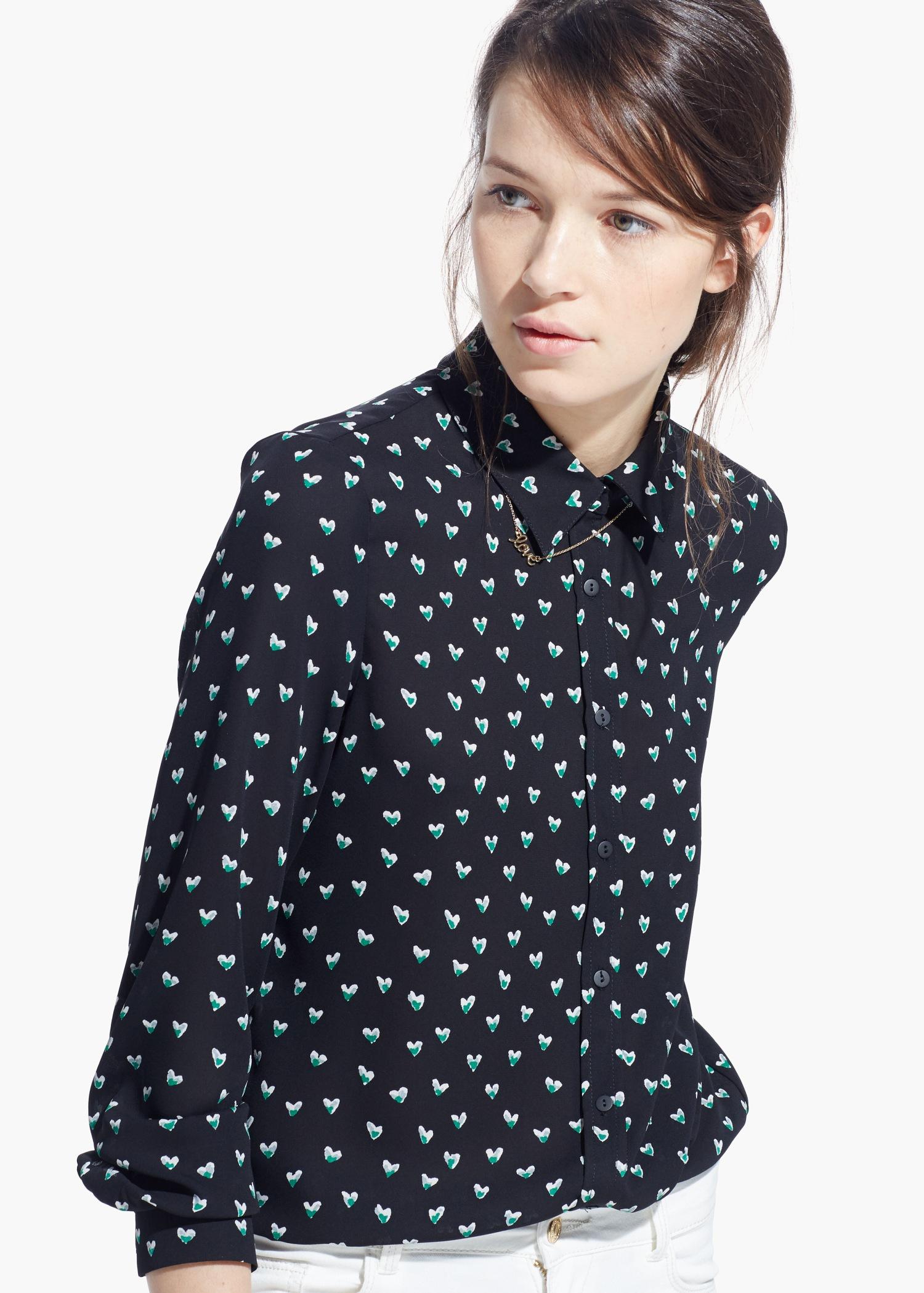 Lyst Shirt Black Heart In Print Mango TqtrRwST