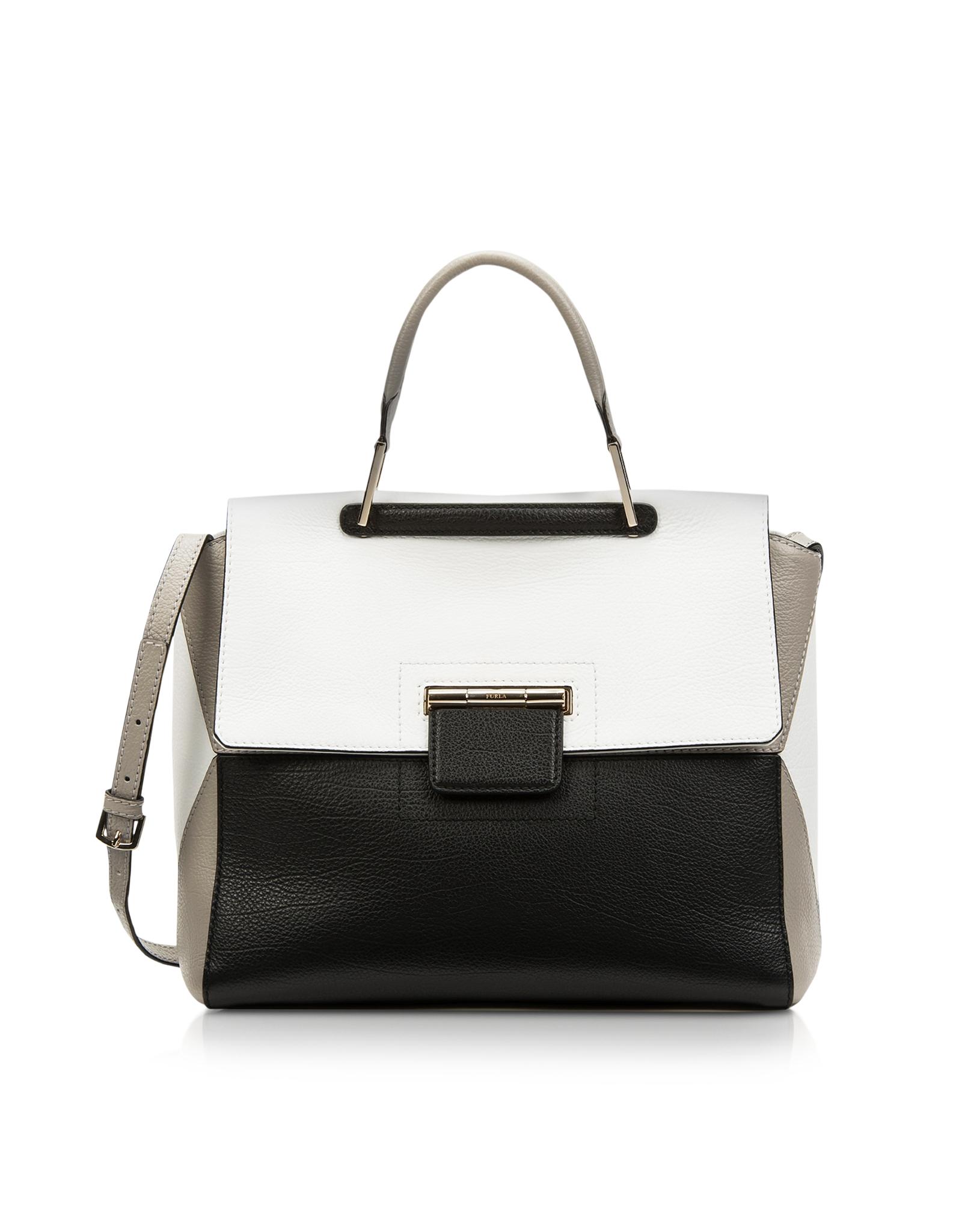 ff406dfb8385 Lyst Furla Artesia Chalk And Onyx Leather Medium Tote In White. Furla Women  S Metropolis Shoulder Bag ...