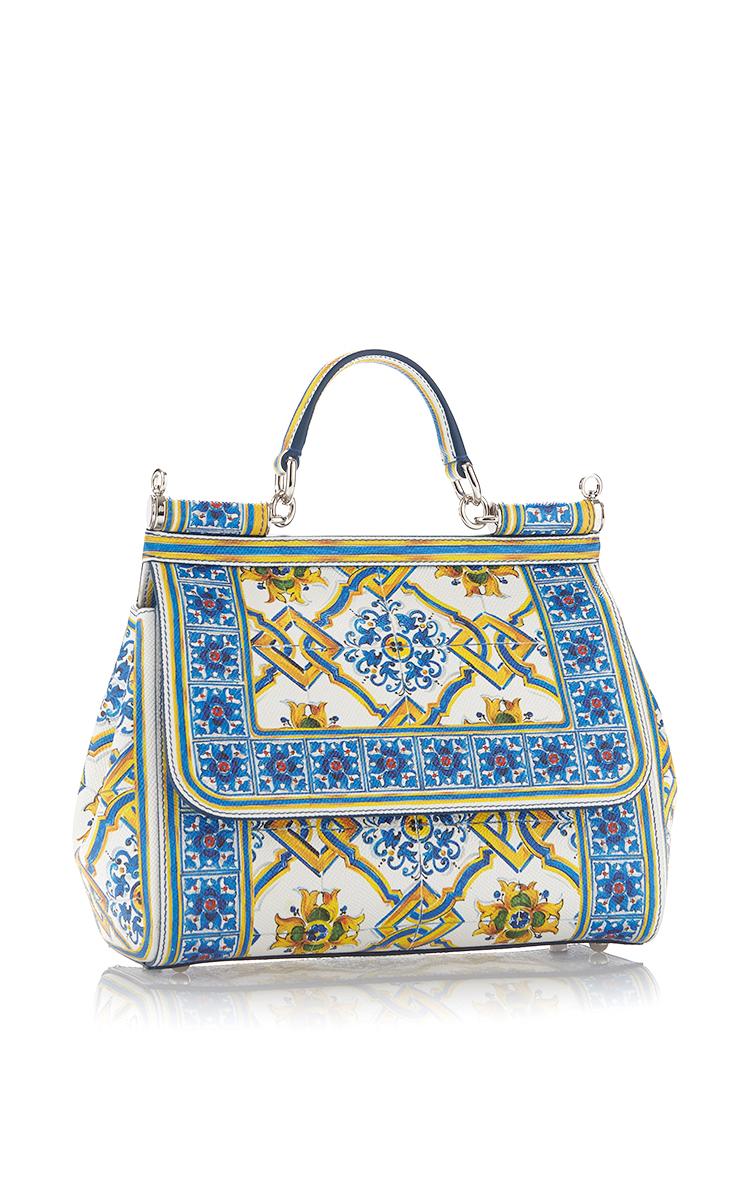 Dolce Gabbana Calf Leather Maiolica Tile Bag In Blue Lyst