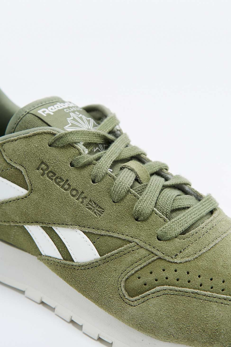 reebok classic green suede trainers in green lyst