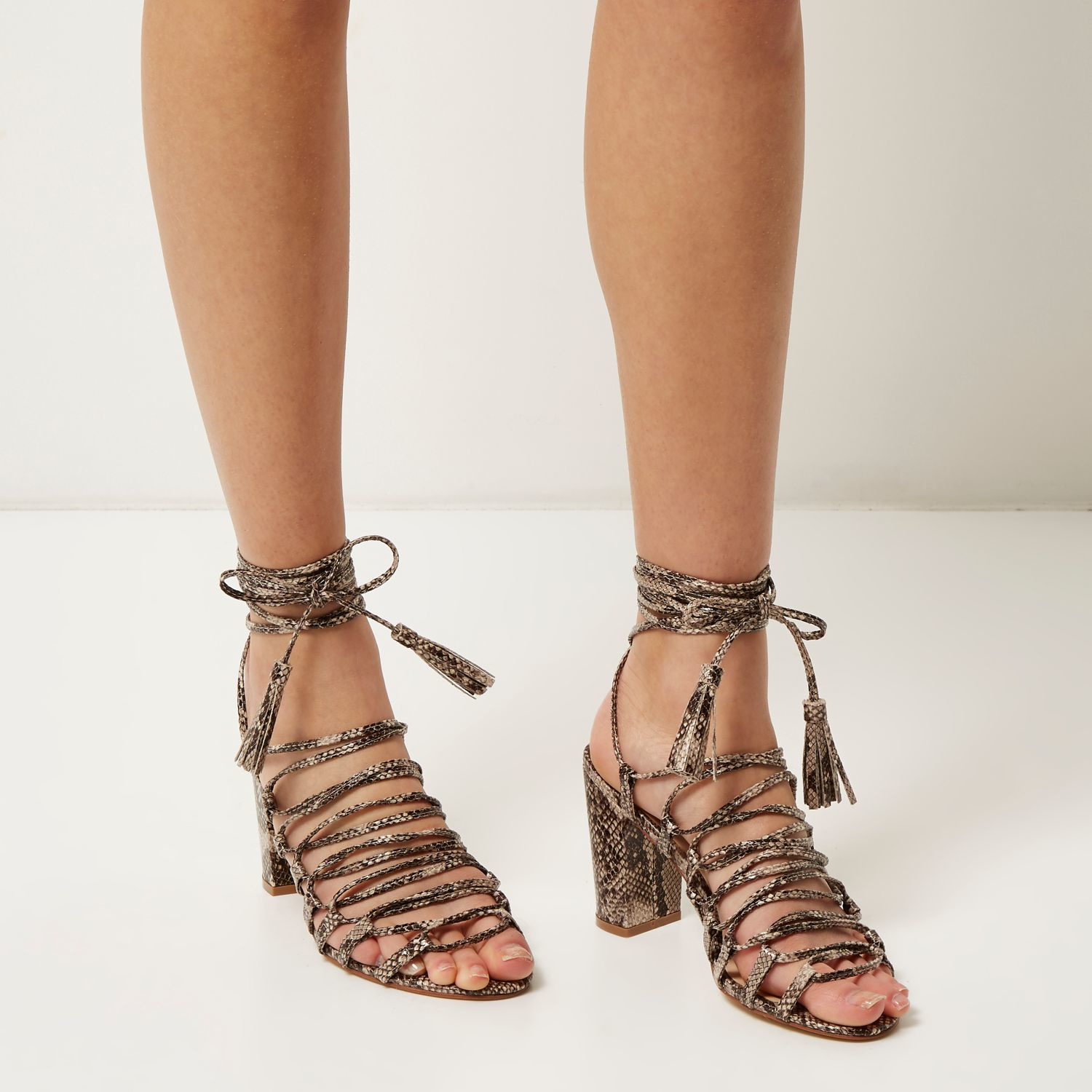 1799e9c59fa Lyst - River Island Grey Snake Print Lace-up Block Heel Sandals in Gray