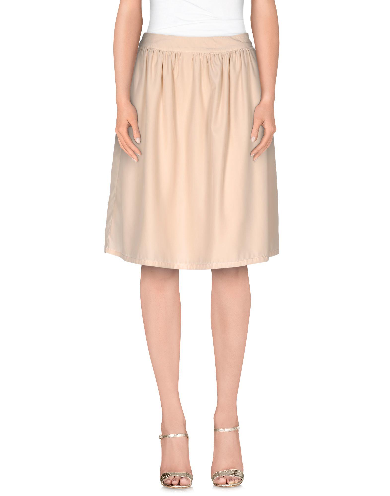 e v4 knee length skirt in beige lyst