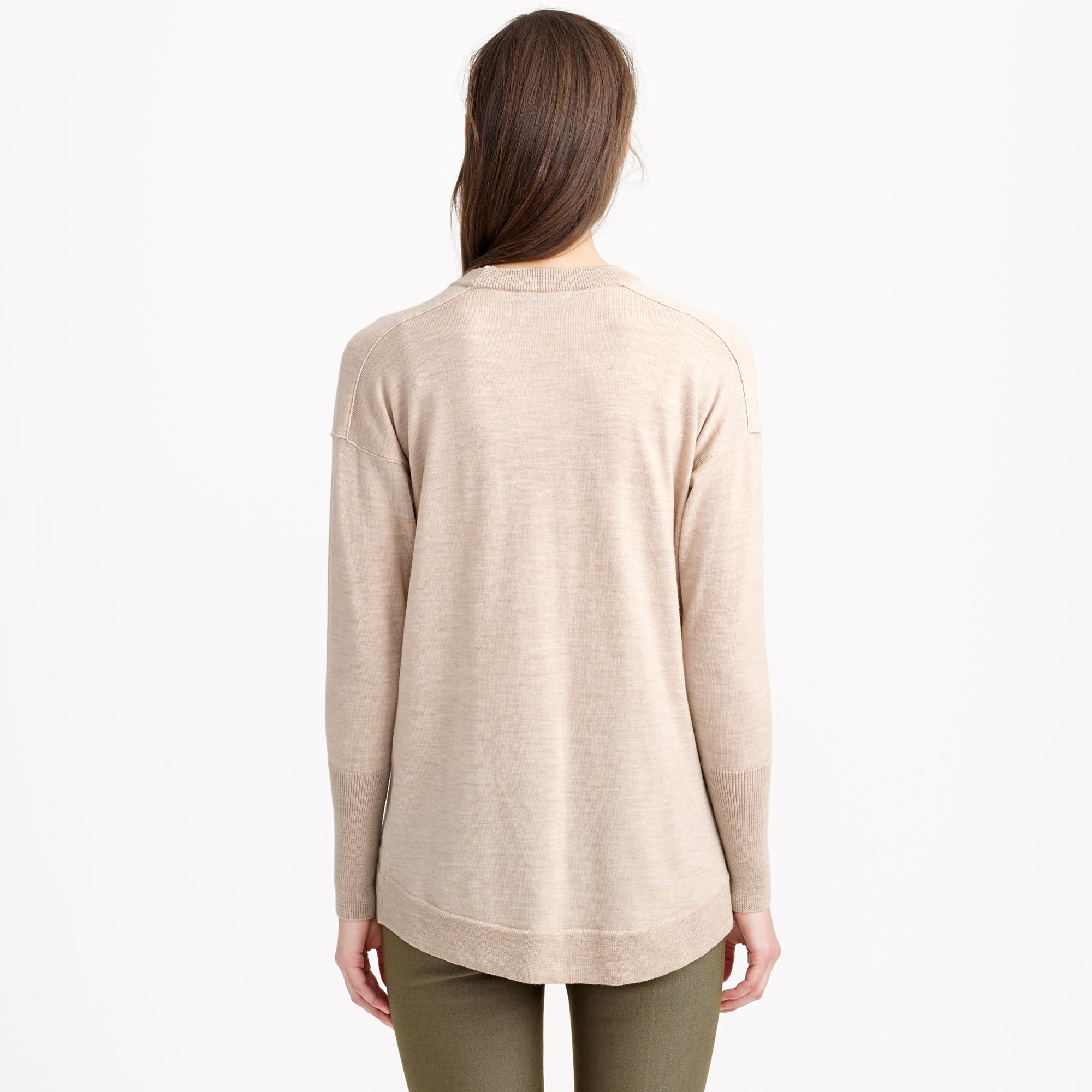 J.crew Merino-cotton Tunic Sweater in Natural | Lyst