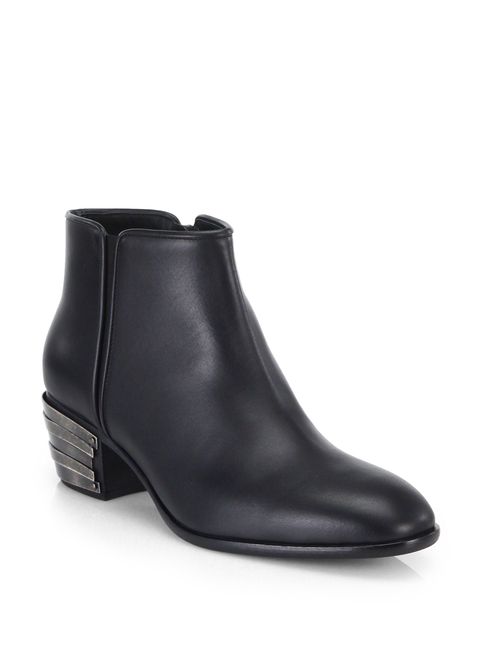 Giuseppe zanotti Metal Heel Leather Ankle Boots in Black for Men ...