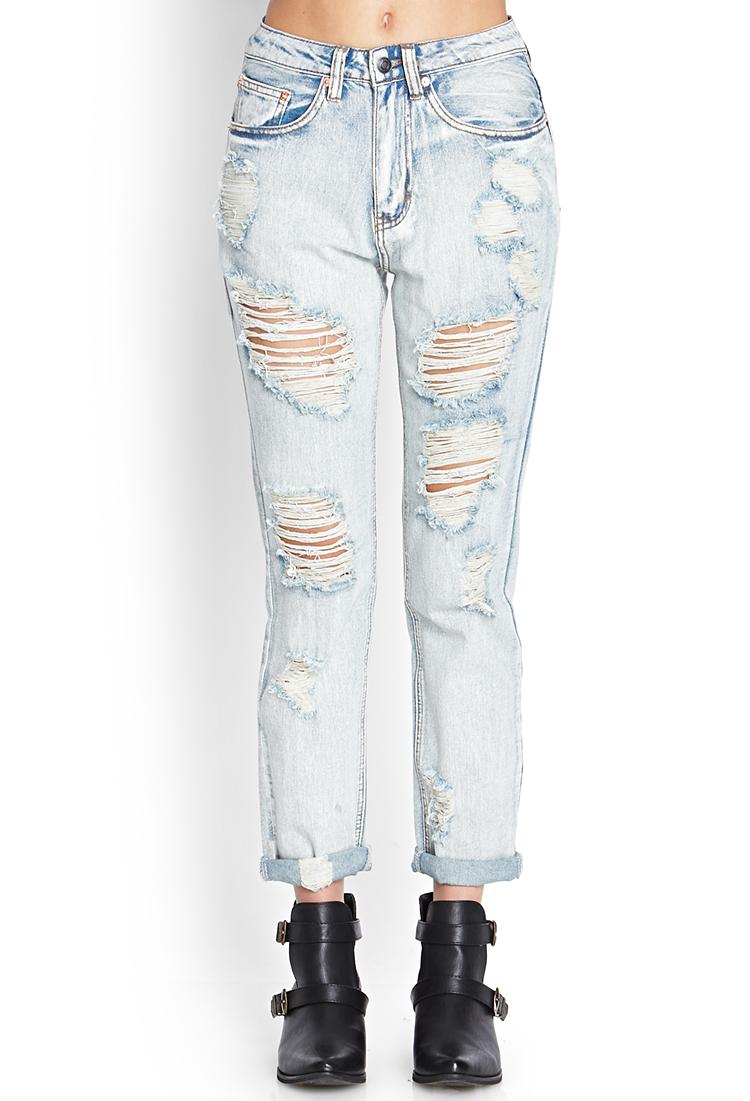 Gallery. Women's Boyfriend Jeans - Forever 21 Ripped & Frayed Boyfriend Jeans In Blue Lyst