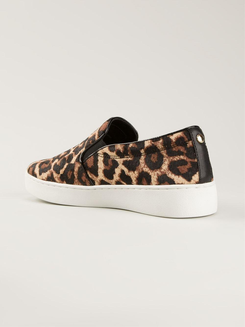 a6010d48765 Lyst - Michael Kors Keaton Leopard Print Slipon Sneakers in Black