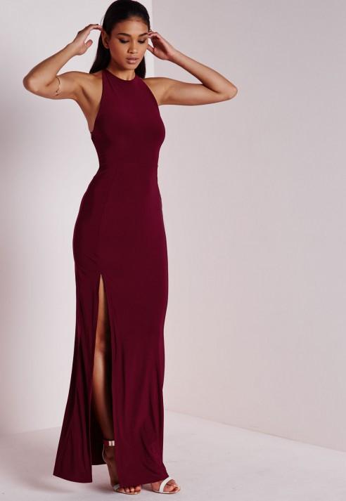 Missguided Slinky Side Split Maxi Dress Burgundy in Purple ...