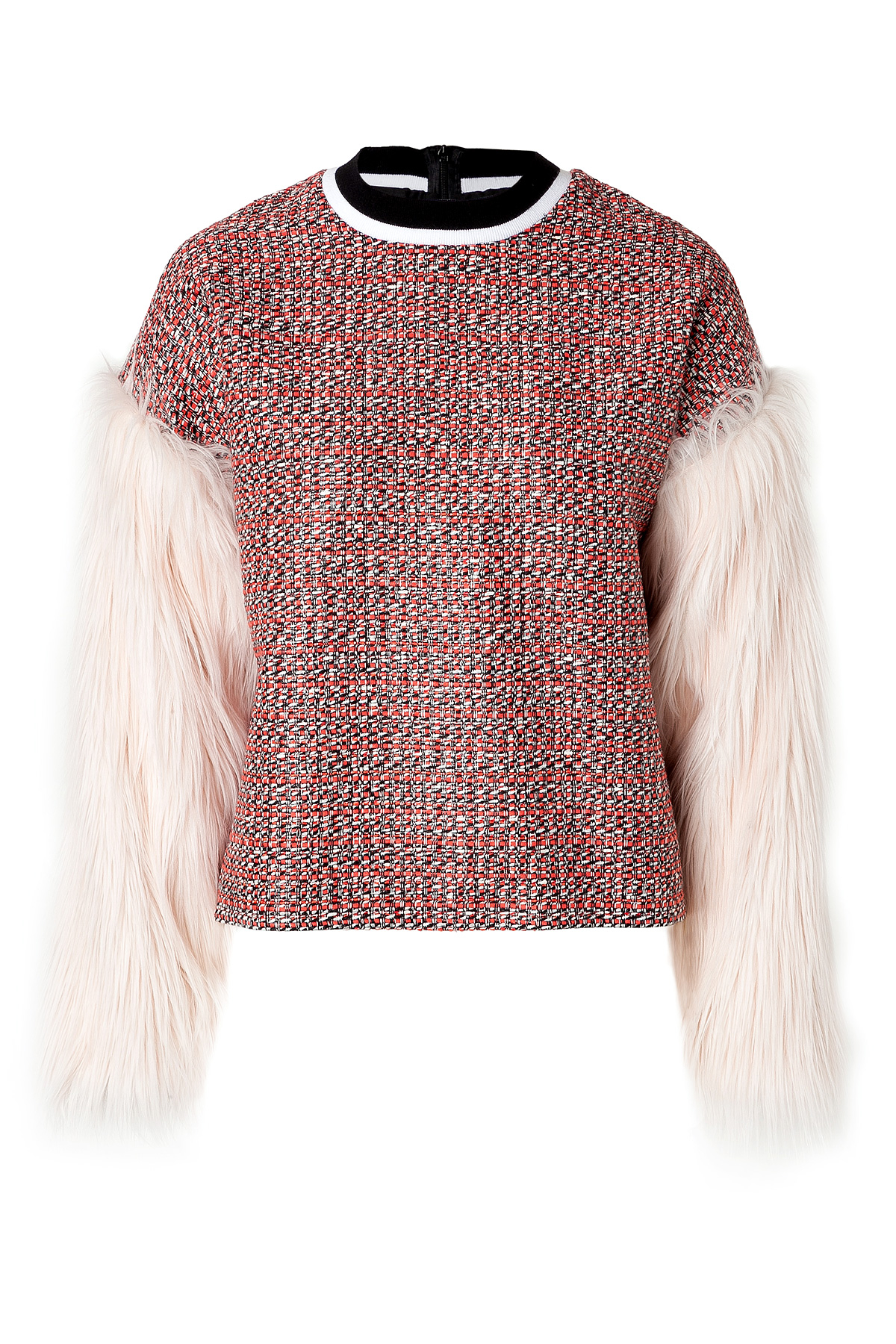 Lyst Msgm Woven Top With Faux Fur Sleeves In Red