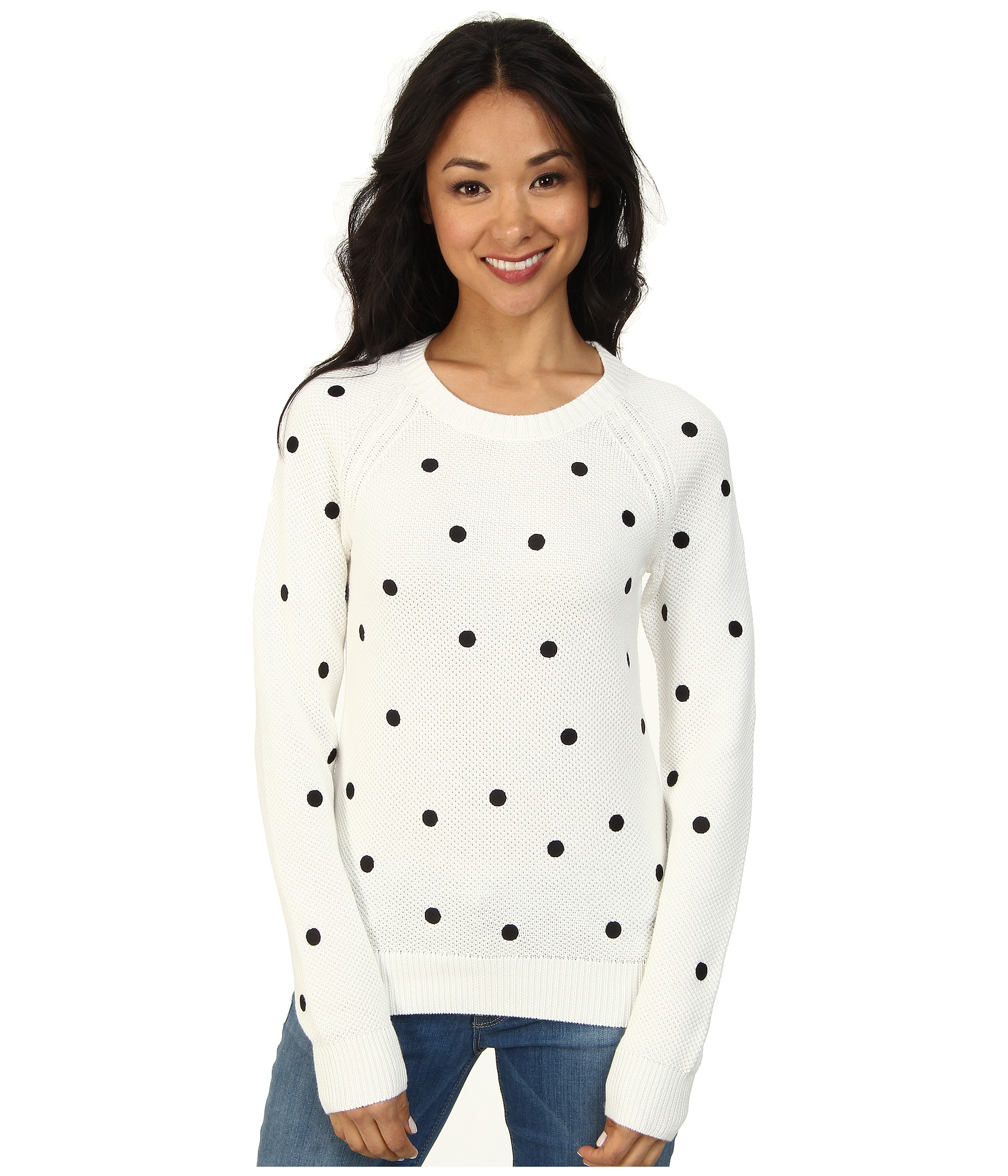 24f34ca21cb Lacoste L!Ve Long Sleeve Polka Dot Sweater in White - Lyst