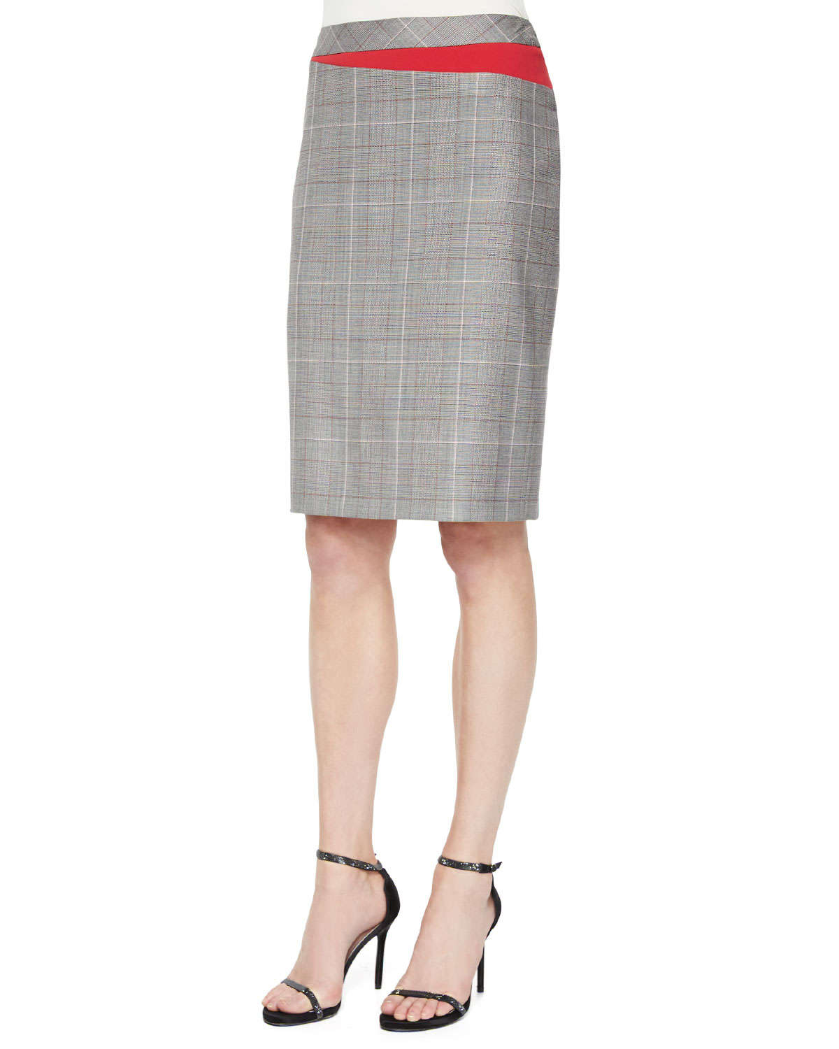 Escada Plaid Business Skirt With Red Insets In Black Lyst