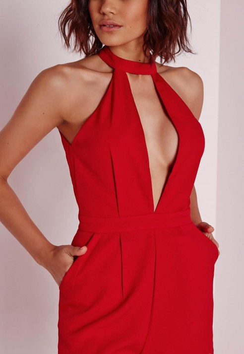 325b5274b1 Lyst - Missguided Split Front Playsuit Red in Red
