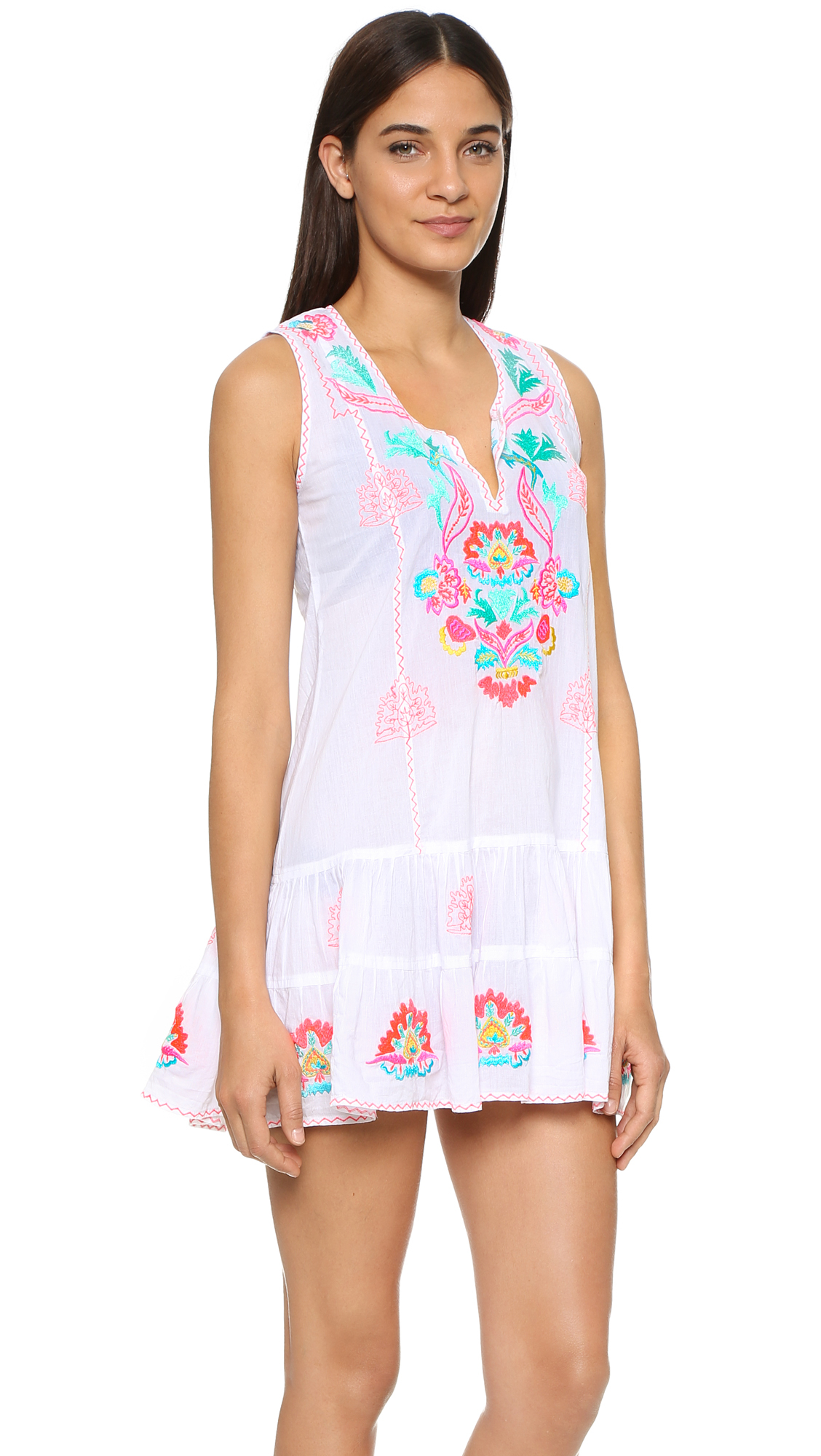 Juliet dunn embroidered beach dress in white lyst