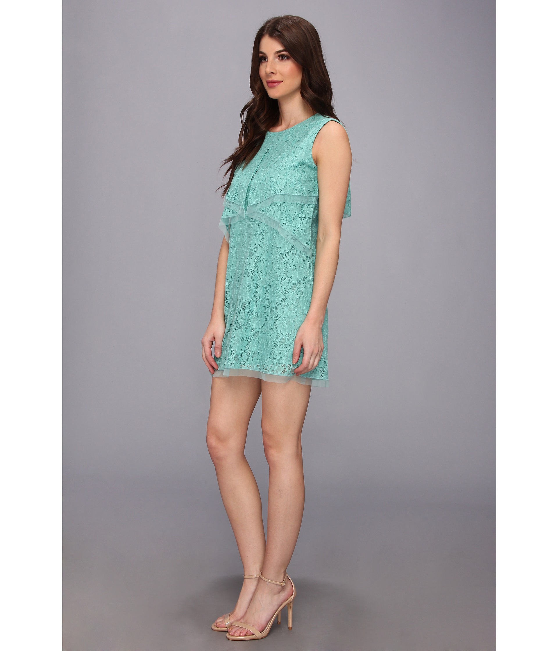 Lyst bcbgmaxazria amelie sleeveless lace drape dress in green gallery voltagebd Images