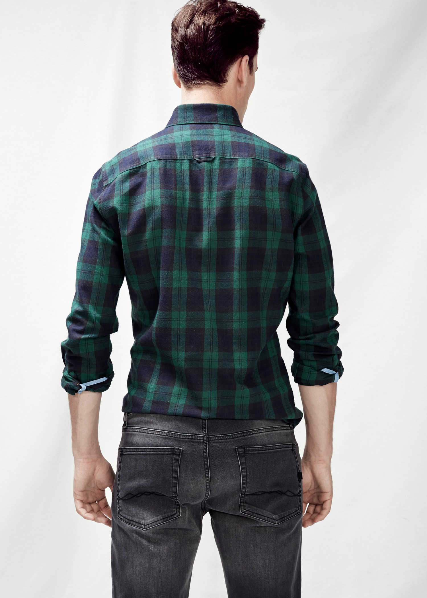 Mango slim fit check twill shirt in green for men medium for Slim fit check shirt