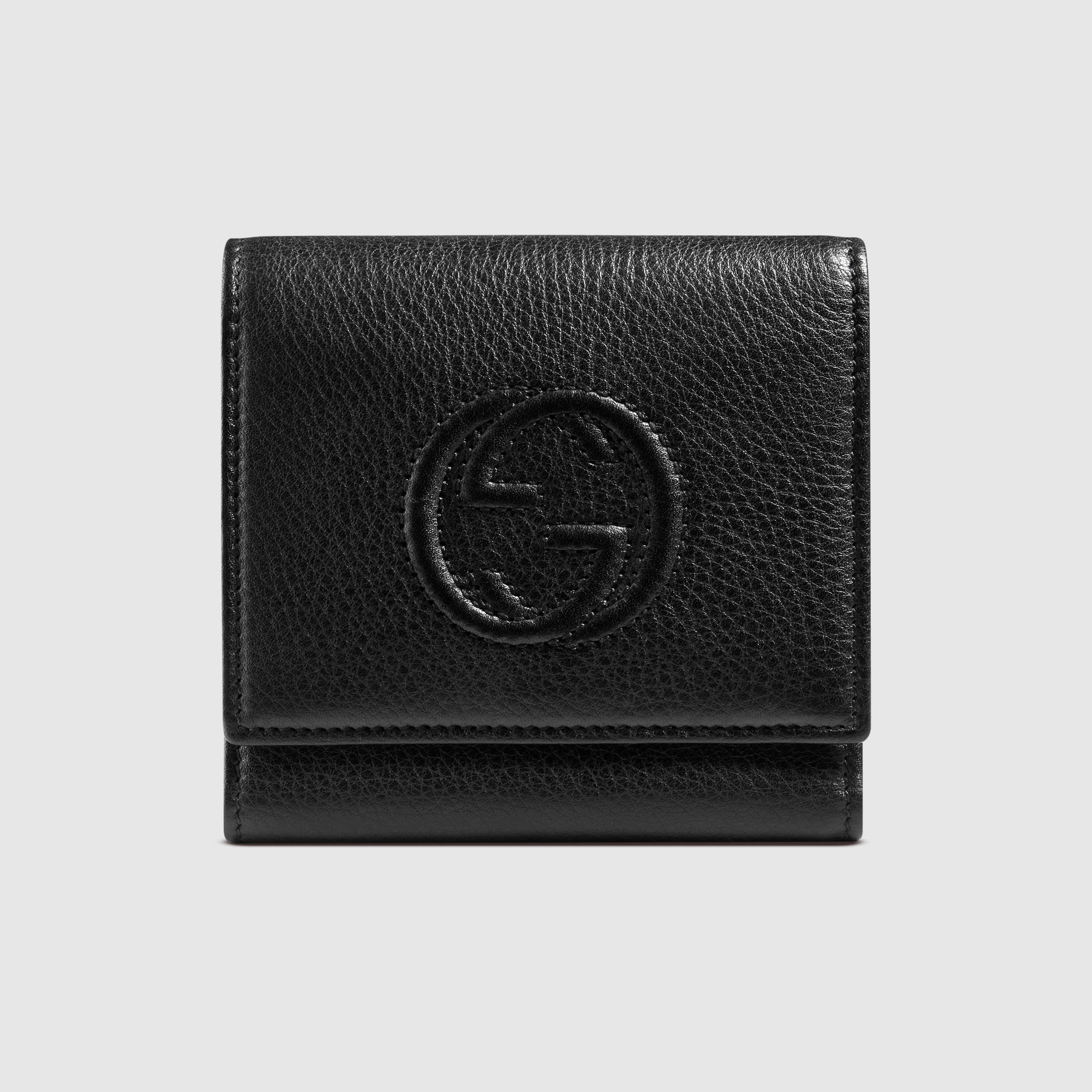 a47f3cbf19f5 Gucci Soho Leather Flap Wallet in Black for Men - Lyst