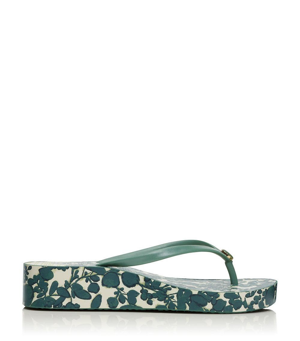 eacadab0e3c4b1 Lyst - Tory Burch Thandie Wedge Flip-Flop in Green
