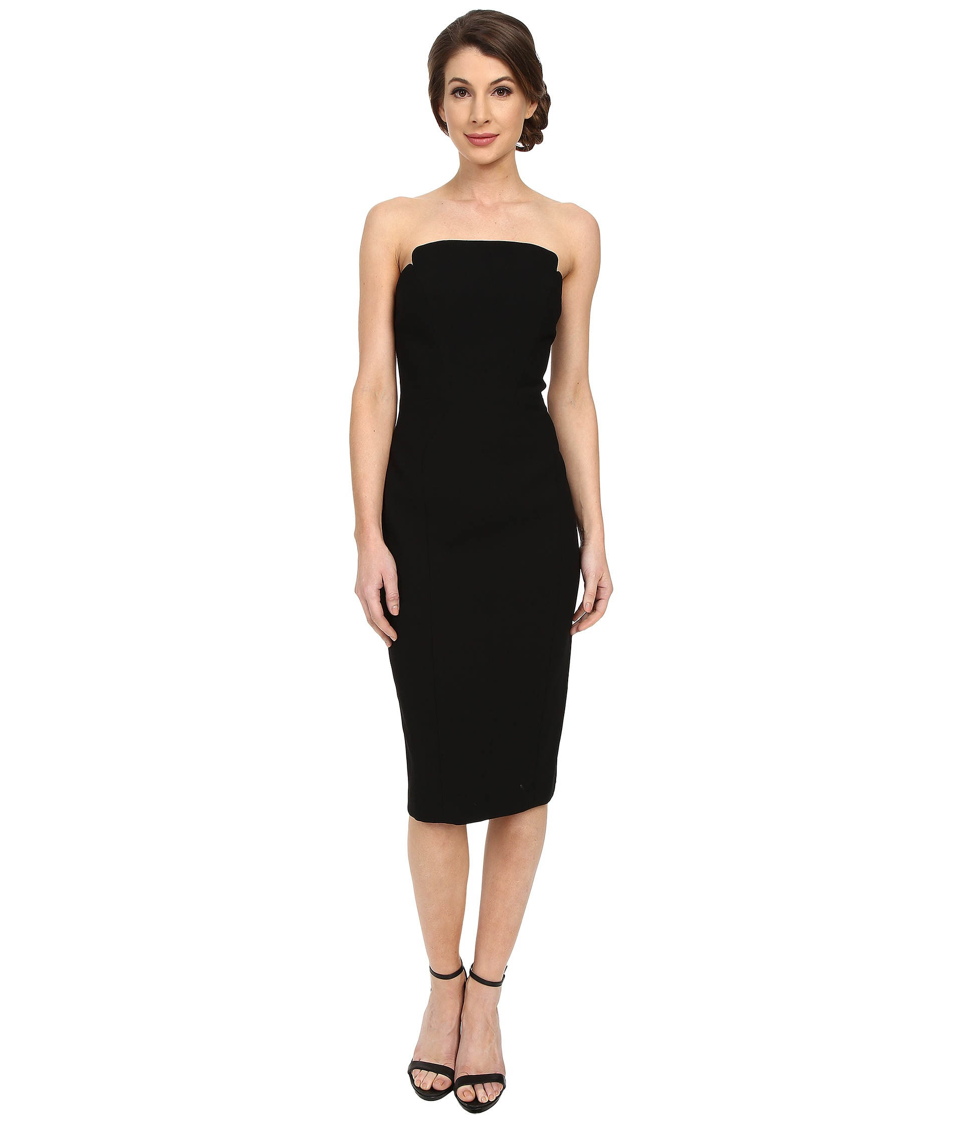 Jill jill stuart Strapless Knee Length Fitted Crepy Dress in Black ...