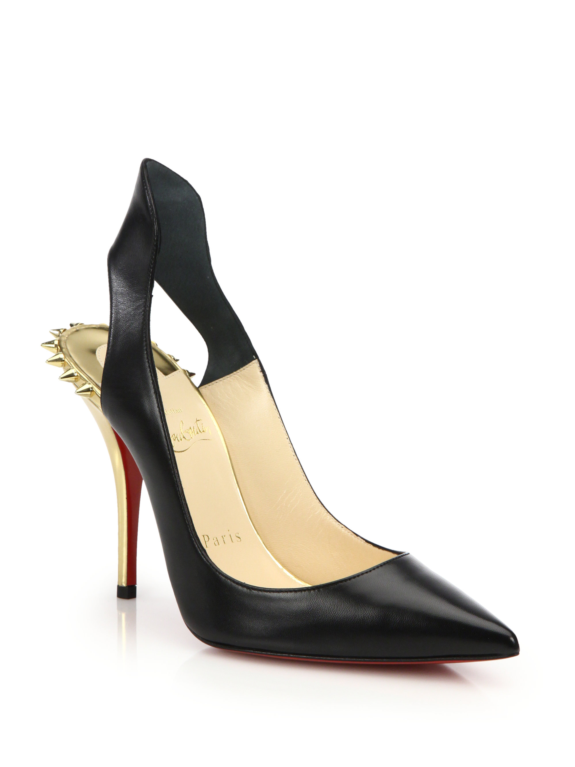 Christian louboutin Survivita Spiked Leather Slingback Pumps in ...