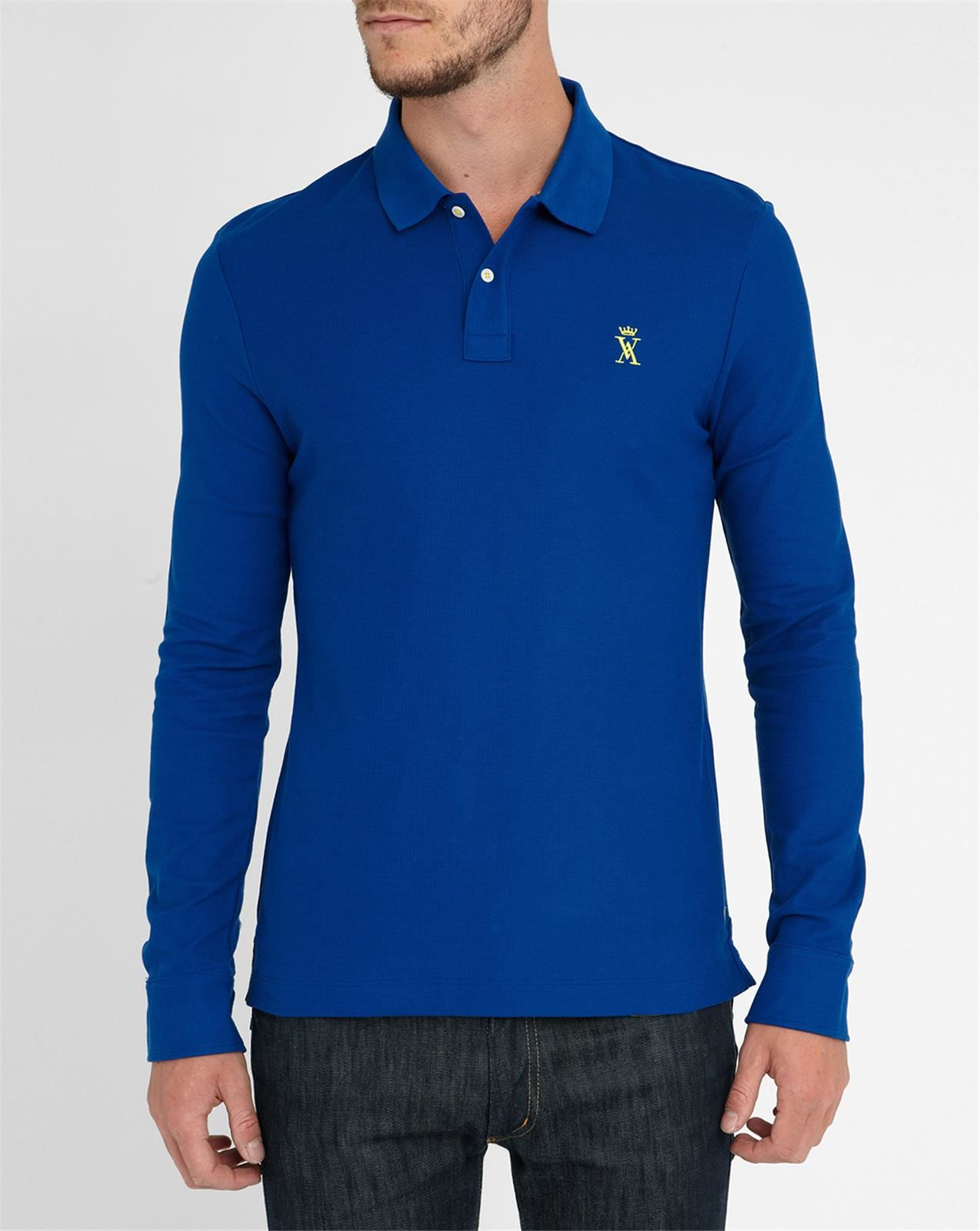 Vicomte A Royal Blue Ls Polo Shirt With Striped Collar