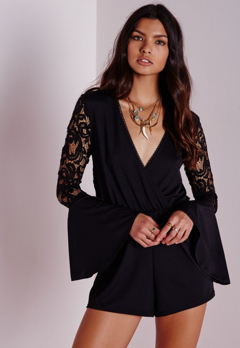 3253ecdc60 Lyst - Missguided Lace Back Fluted Sleeve Playsuit Black in Black