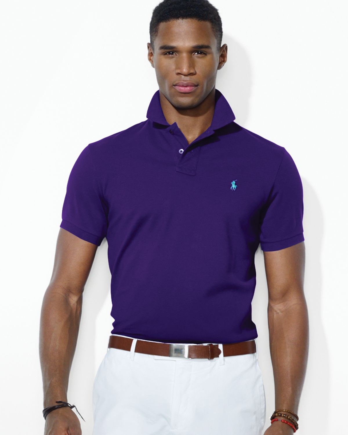 Lyst Ralph Lauren Polo Customfit Stretchmesh Polo Shirt In Purple